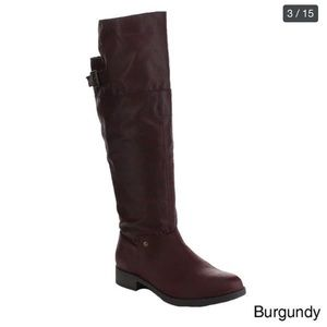 Faux Leather Burnished Buckle Riding Knee High